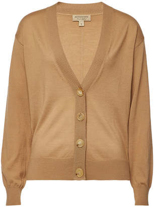 Burberry Dornoch Merino Wool Cardigan with Elbow Patches