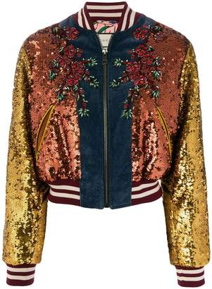 Gucci GG Web sequinned bomber jacket