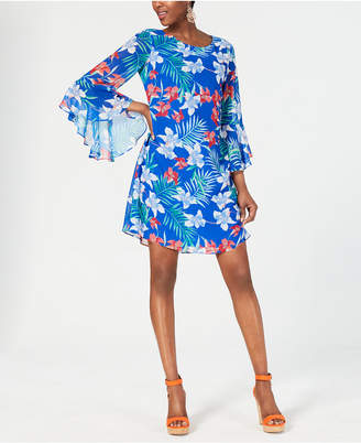 INC International Concepts I.n.c. Floral Chiffon Bell-Sleeve Dress