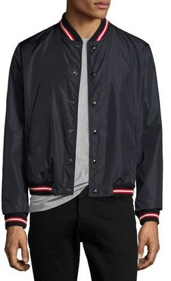 Moncler Dubost Bomber Jacket with Varsity Stripes, Dark Blue $520 thestylecure.com
