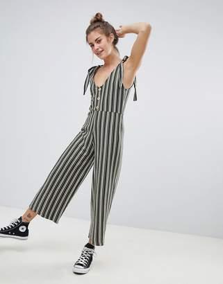 Pull&Bear tie strap jumpsuit in stripe print