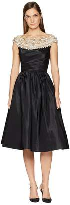 Marchesa Crystal and Pearl High Neck Cocktail Dress Women's Dress