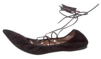 Valentino Suede Rockstud Wrap-Tie Flats Black Suede Rockstud Wrap-Tie Flats