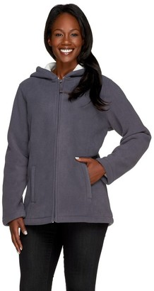 Denim & Co. Zip Front Fleece Jacket with Hood and Sherpa Lining