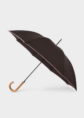 Paul Smith Black Signature Stripe Border Walker Umbrella With Wooden Handle