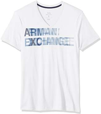 Armani Exchange A|X Men's Faded Logo V Neck Tee