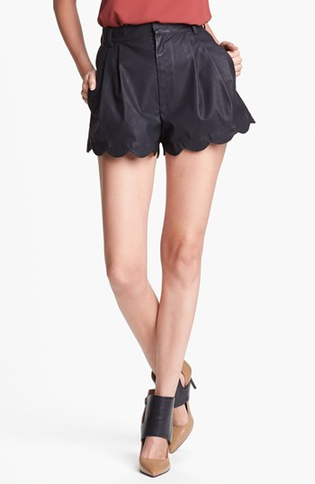 MinkPink Scalloped Faux Leather Shorts