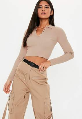 Missguided Tan Collared Button Knit Crop Top