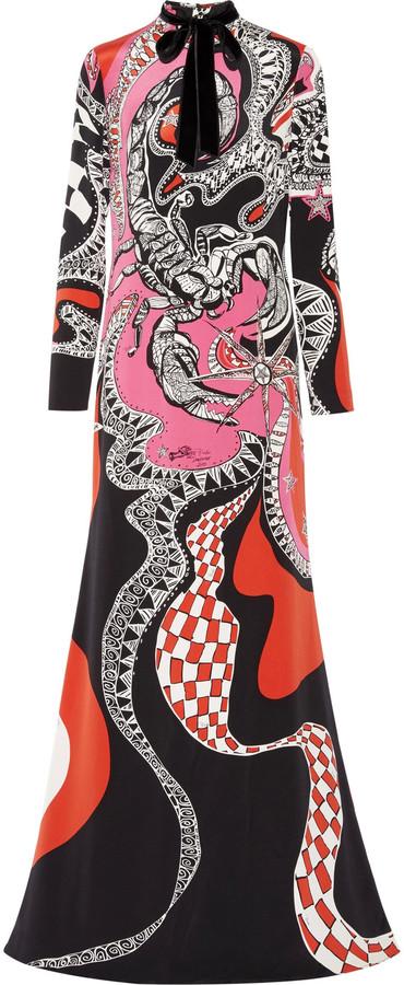 Emilio PucciEmilio Pucci Velvet-trimmed printed silk gown