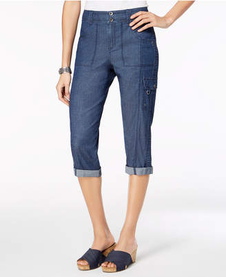 Style&Co. Style & Co Petite Cuffed Cargo Capri Pants, Created for Macy's