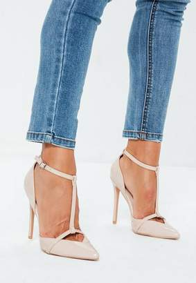 Missguided Nude T Bar Court Shoes