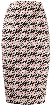 Elisabetta Franchi logo print pencil skirt