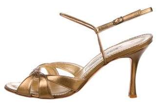 9dae48713794 Manolo Blahnik Gold Ankle Strap Women s Sandals - ShopStyle