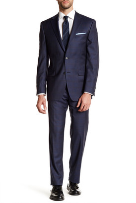 Ike Behar Navy Windowpane Two Button Notch Lapel Wool Suit $379.97 thestylecure.com