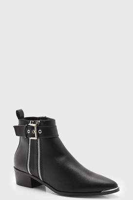 boohoo Double Zip Chelsea Ankle Boots