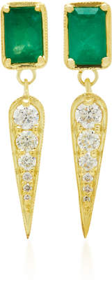 Ila Claude 14K Gold Emerald and Diamond Earrings