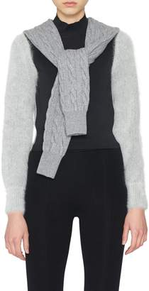Alexander Wang Cropped Cableknit Tie Sweater