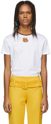 Prada White and Orange Ribbed Collar T-Shirt
