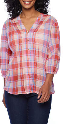 A.N.A Womens V Neck 3/4 Sleeve Peasant Top