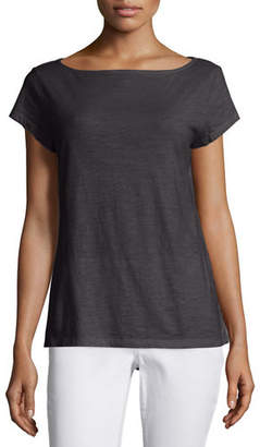 Eileen Fisher Cap-Sleeve Organic Cotton Slub Top