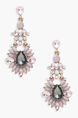 boohoo Statement Diamante Gem Earrings