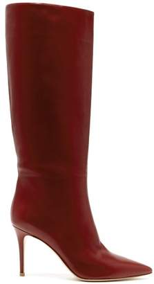 Gianvito Rossi Suzan 85 Knee High Leather Boots - Womens - Burgundy