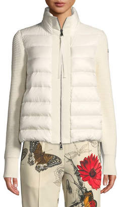 Moncler Puffer Cardigan w/ Knit Sleeves