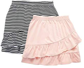 UNACOO 2 Packs 100% Cotton Tiered Ruffle Skirt with Elastic Waistband for Girls(red/White+Black