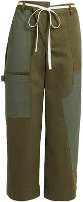 Monse Olive Wide Leg Cargo Pants