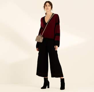 Amanda Wakeley Berry & Black Bell Sleeve Cashmere Jumper
