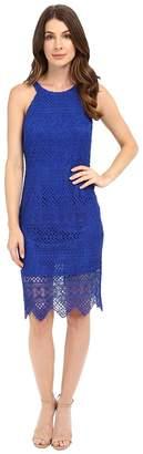 Laundry by Shelli Segal Salem Stripe Lace Cutaway Short Dress with Scalloped Hem Women's Dress