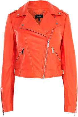Karen Millen Cropped Leather Biker Jacket