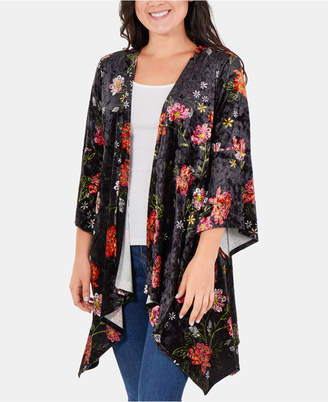 NY Collection Floral-Print Velvet Cardigan