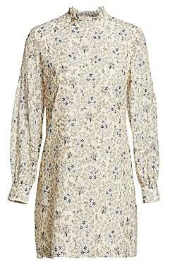 Derek Lam 10 Crosby Women's Floral Silk Long-Sleeve Shift Dress