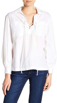 Frame Double Pocket Lace-Up Blouse