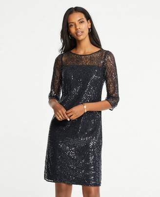 Ann Taylor Petite Sequin Lace Shift Dress