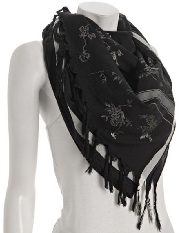 Leigh & Luca black cotton-silk 'Roses' fringe scarf