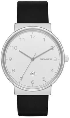 Skagen Men's Leather Strap Watch, 40mm