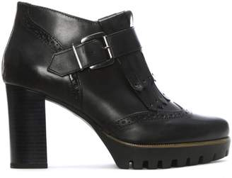 Brunate Easy'n Rose Black Leather Brogue Heeled Ankle Boots
