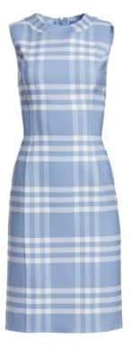 Oscar de la Renta Sleeveless Plaid Sheath Dress