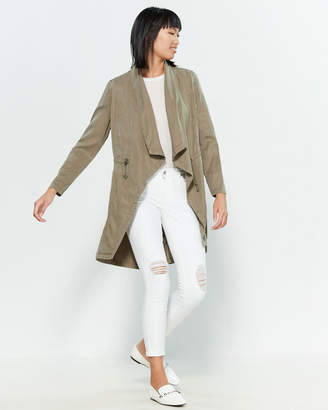 Max Jeans Draped Open Front Jacket