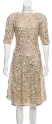 Oscar de la Renta 2015 Textured Midi Dress Gold 2015 Textured Midi Dress