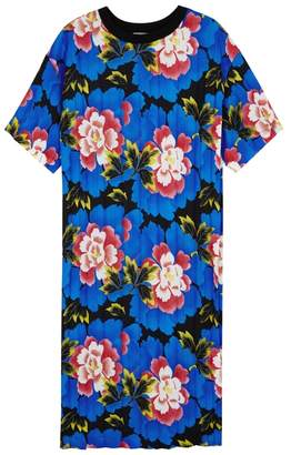 Kenzo Indonesian Flowers Pleated Jersey Dress