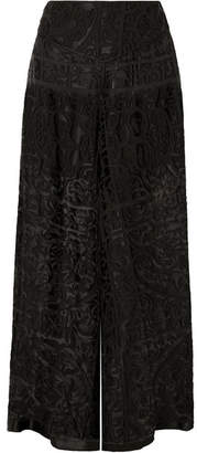 Anna Sui Devoré-chiffon Wide-leg Pants - Black