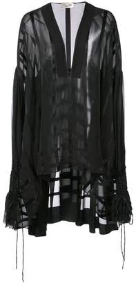 Saint Laurent long sheer draped blouse