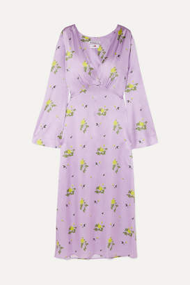 BERNADETTE - Sarah Floral-print Stretch-silk Satin Dress - Lilac