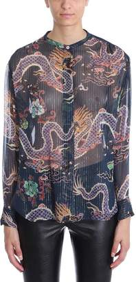 Isabel Marant Multicolor Daws Dragon Print Silk Blend Shirt