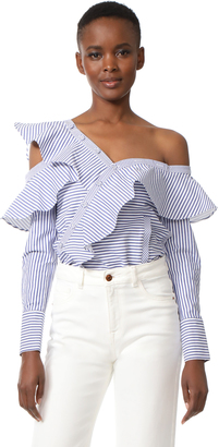 Self Portrait Striped Frill Shirt $410 thestylecure.com