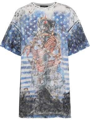 Balmain Oversized Distressed Printed Cotton-Jersey T-Shirt