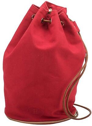 One Kings Lane Vintage Hermes Red Fabric & Leather Shoulder Bag - Vintage Lux